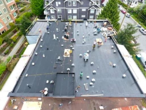 commercial roofing project at 21 street west in North Vancouver