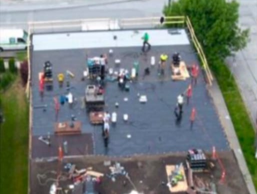 commercial roofing project at Agnes street in New Westminster