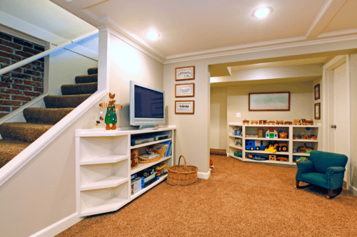 Check this basement with toys and tiny sofa for kids what we renovated.