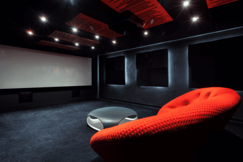 Check this cool movie room with projector in the basement