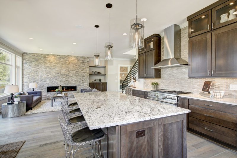 one of the modern kitchen design combined with living room